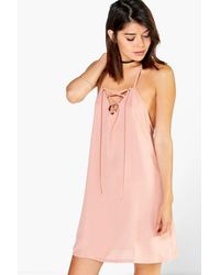 Boohoo - Pink Helena Lace Up Strappy Swing Dress - Lyst