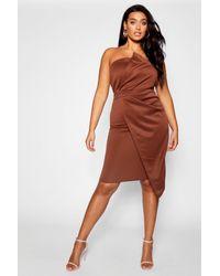 Boohoo - Brown Plus Fold Front Wrap Dress - Lyst