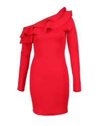 Boohoo - Red Petite Tilly One Shoulder Trill Midi Dress - Lyst