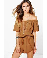 Boohoo - Brown Crochet Trim Off The Shoulder Playsuit - Lyst