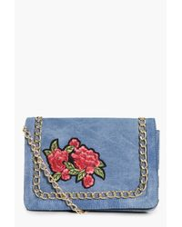 Boohoo | Blue Lydia Embroidered Chain Cross Body Bag | Lyst