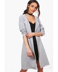 Boohoo | Gray Georgina Long Sleeve Belted Duster | Lyst