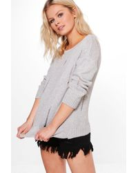 Boohoo | Gray Louisa Distressed Back & Front Jumper | Lyst