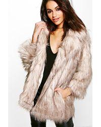 Boohoo Natural Lois Shaggy Faux Fur Coat