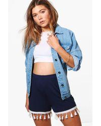 Boohoo - Blue Alex Tassel Trim Flippy Shorts - Lyst