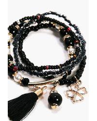 Boohoo - Black Alexis Beaded Tassel Bracelet Pack - Lyst