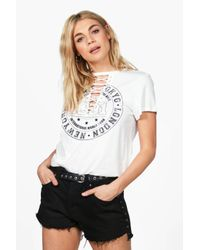 Boohoo - White Jane Lace Up Distressed Band Tee - Lyst