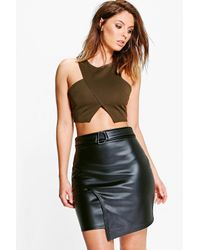Boohoo | Black Asha D Ring Leather Look Mini Skirt | Lyst