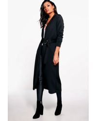 Boohoo - Black Kayla O-ring Belted Duster - Lyst