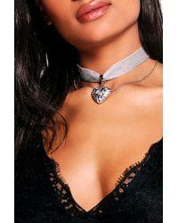 Boohoo - Gray Tia Locket Layered Chain Choker - Lyst