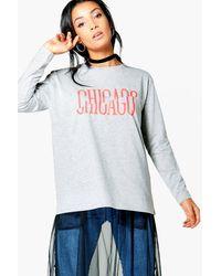 Boohoo | Gray Eva Slash Print Long Sleeve T-shirt | Lyst