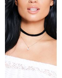 Boohoo | Metallic Layered Velvet Chain Diamante Choker | Lyst