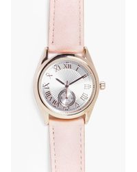 Boohoo - Pink Isabel 2 Dial Roman Numeral Pu Strap Watch - Lyst