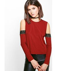180918deec230 Boohoo Lola Rib Eyelet Cold Shoulder Top in Red - Lyst