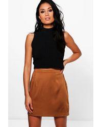 Boohoo - Multicolor Liah Woven Matte Satin A Line Mini Skirt - Lyst