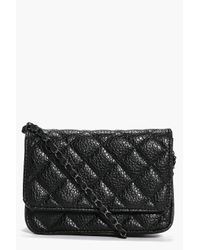 Boohoo - Black Darcey Quilted Chain Strap Cross Body Bag - Lyst