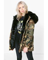Boohoo | Black Phoebe Camo Faux Fur Lined Parka | Lyst