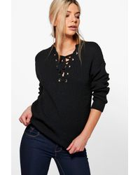 Boohoo - Black Darcy Lace Front Detail Fisherman Jumper - Lyst