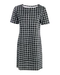 Boohoo - Black Hannah Check Cap Sleeve Shift Dress - Lyst