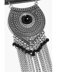Boohoo - Black Lucy Western Chain Drape Choker - Lyst