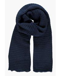 Boohoo | Blue Ebony Super Chunky Rib Knit Scarf | Lyst