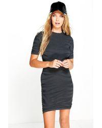 Boohoo | Black Isabella Animal Mesh Knit Dress | Lyst