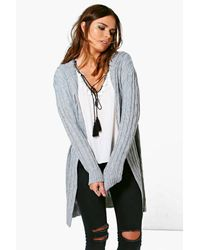 Boohoo - Gray Willow Cable Knit Hooded Cardigan - Lyst