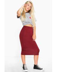 Boohoo - Blue Cacey Jersey Bodycon Midi Skirt - Lyst