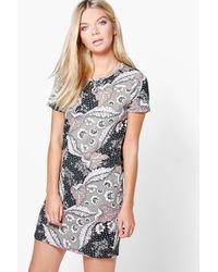 Boohoo   Metallic Lanie Floral Brushed Knit Shift Dress   Lyst