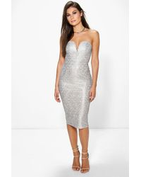 Boohoo - Boutique Tess Metallic Lace Bandeau Dress - Lyst