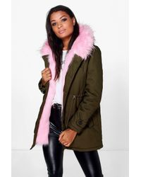 Boohoo | Green Boutique Eliza Faux Fur Hood Parka | Lyst