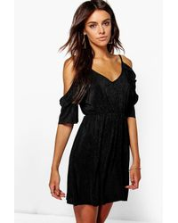 Boohoo | Black Ariel Pleated Cold Shoulder Dress | Lyst