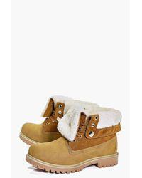Boohoo - Multicolor Rachel Fur Trim Collar Hiker Boot - Lyst