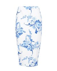 Boohoo - Blue Bahira Porcelain Print Midi Skirt - Lyst