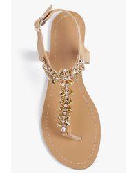 Boohoo - Natural Hannah Diamante Embellished Sandal - Lyst