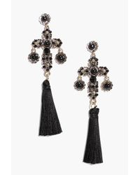 Boohoo - Metallic Mia Stone Cross Tassle Statement Earrings - Lyst
