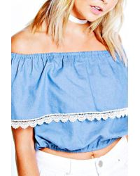 Boohoo | Blue Kirsty Off The Shoulder Frill Denim Top | Lyst