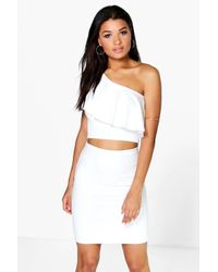 Boohoo - White Lexi One Shoulder Frill Crop - Lyst