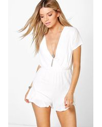 53bdc2a263 Boohoo Zoe Ruffle Hem Playsuit in White - Lyst