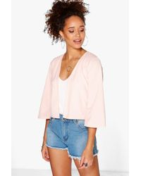 Boohoo | Black Julia Crop Bell Sleeve Jacket | Lyst