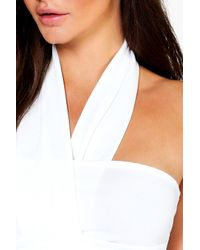 Boohoo - White Amy Crepe Wrap Front Neck Crop - Lyst