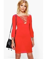 Boohoo - Red Lillyanna Lace Up Bodycon Dress - Lyst