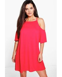 Boohoo - Lucia Strappy Textured Cold Shoulder Swing Dress - Lyst