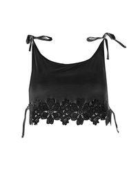Boohoo - Black Collette Crochet Tie Shoulder Top - Lyst