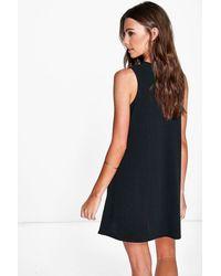 Boohoo - Black Erin Sleeveless Rib Knit Swing Dress - Lyst