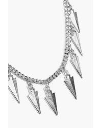 Boohoo - Metallic Zoe Multi Arrow Head Pendant Skinny Necklace - Lyst