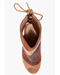 Boohoo - Brown Alyssa Patchwork Peeptoe Shoe Boot - Lyst