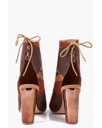 Boohoo - Brown Alyssa Patchwork Peeptoe Shoe Boot - Lyst