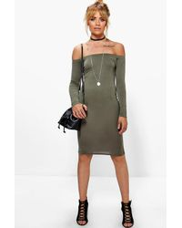 Boohoo - Gray Ria Off The Shoulder Midi Dress - Lyst
