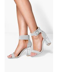 Boohoo - Gray Ivy Clear Block Heel Two Part - Lyst